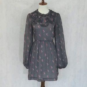 Free People Ruffle Neck Grey Pattern Dress
